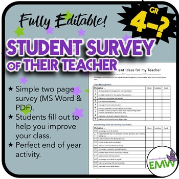 EDITABLE - Survey for students to assess their teacher