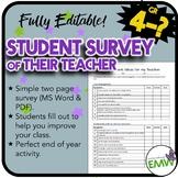 EDITABLE - Survey for students to assess their teacher