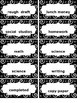 EDITABLE Swirly Print Blk & Wht Sm Labels for Paper Trays