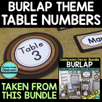 EDITABLE TABLE NUMBERS for BURLAP THEME by CLUTTER FREE CLASSROOM