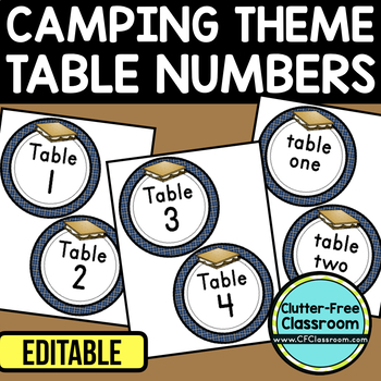 EDITABLE TABLE NUMBERS for CAMPING THEME by CLUTTER FREE CLASSROOM