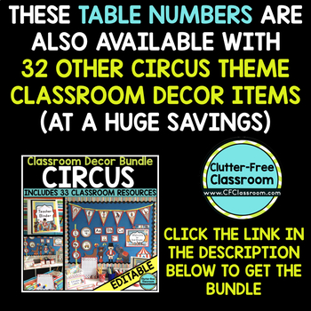 EDITABLE TABLE NUMBERS for CIRCUS THEME by CLUTTER FREE CLASSROOM