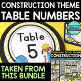EDITABLE TABLE NUMBERS for CONSTRUCTION THEME by CLUTTER F