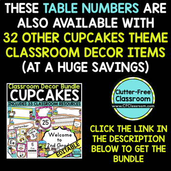 EDITABLE TABLE NUMBERS for CUPCAKES THEME by CLUTTER FREE CLASSROOM