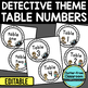 EDITABLE TABLE NUMBERS for DETECTIVE THEME by CLUTTER FREE CLASSROOM