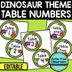 EDITABLE TABLE NUMBERS for DINOSAUR THEME by CLUTTER FREE CLASSROOM