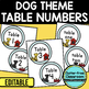 EDITABLE TABLE NUMBERS for DOG THEME by CLUTTER FREE CLASSROOM
