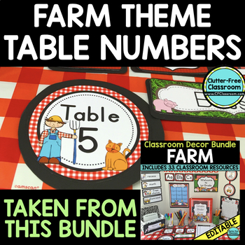 EDITABLE TABLE NUMBERS for FARM THEME by CLUTTER FREE CLASSROOM