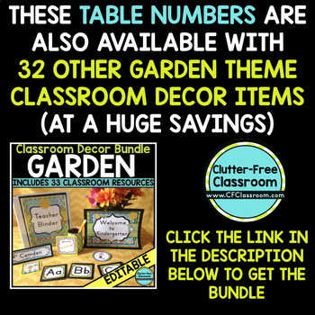 EDITABLE TABLE NUMBERS for GARDEN THEME by CLUTTER FREE CLASSROOM