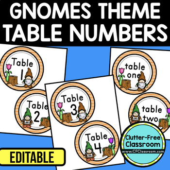 EDITABLE TABLE NUMBERS for GNOME THEME by CLUTTER FREE CLASSROOM