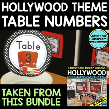 EDITABLE TABLE NUMBERS for HOLLYWOOD THEME by CLUTTER FREE CLASSROOM