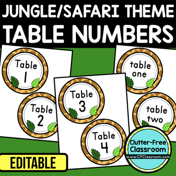 EDITABLE TABLE NUMBERS for JUNGLE THEME by CLUTTER FREE CLASSROOM