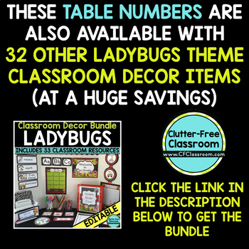 EDITABLE TABLE NUMBERS for LADYBUG THEME by CLUTTER FREE CLASSROOM