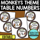 EDITABLE TABLE NUMBERS for MONKEY THEME by CLUTTER FREE CLASSROOM