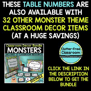 EDITABLE TABLE NUMBERS for MONSTER THEME by CLUTTER FREE CLASSROOM
