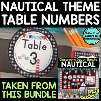 EDITABLE TABLE NUMBERS for NAUTICAL THEME by CLUTTER FREE CLASSROOM