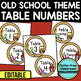 EDITABLE TABLE NUMBERS for OLD SCHOOL THEME by CLUTTER FREE CLASSROOM