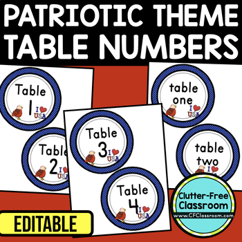 EDITABLE TABLE NUMBERS for PATRIOTIC THEME by CLUTTER FREE CLASSROOM