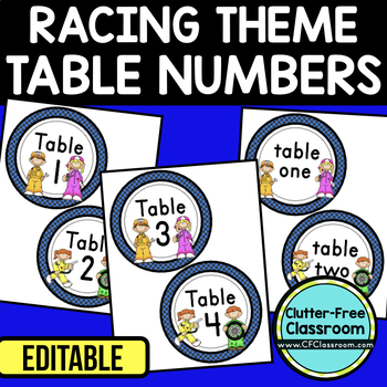 EDITABLE TABLE NUMBERS for RACING THEME by CLUTTER FREE CLASSROOM