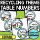EDITABLE TABLE NUMBERS for RECYCLE THEME by CLUTTER FREE CLASSROOM