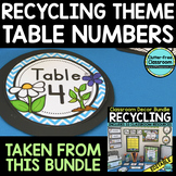 EDITABLE TABLE NUMBERS for RECYCLE THEME by CLUTTER FREE C