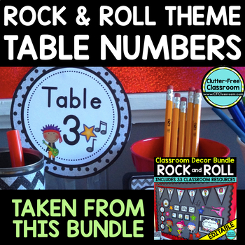 EDITABLE TABLE NUMBERS for ROCK AND ROLL THEME by CLUTTER FREE CLASSROOM