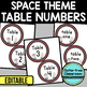 EDITABLE TABLE NUMBERS for SPACE THEME by CLUTTER FREE CLASSROOM