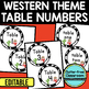 EDITABLE TABLE NUMBERS for WESTERN THEME by CLUTTER FREE CLASSROOM