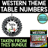 EDITABLE TABLE NUMBERS for WESTERN THEME by CLUTTER FREE C