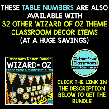 EDITABLE TABLE NUMBERS for WIZARD OF OZ THEME by CLUTTER FREE CLASSROOM