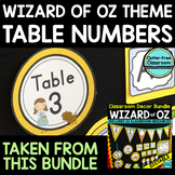 EDITABLE TABLE NUMBERS for WIZARD OF OZ THEME by CLUTTER F