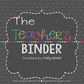 EDITABLE TEACHER BINDER (Bright Colors) ~ FREE UPDATES