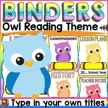EDITABLE TEACHER BINDER COVERS: READING OWL THEME