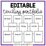 EDITABLE TEACHING PORTFOLIO (BLACK AND WHITE)