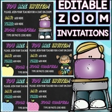 EDITABLE TEXT- Zoom Meeting Invitations for Students and Family