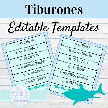 Spanish EDITABLE TIBURONES Vocab or Grammar Game Template