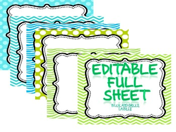 EDITABLE TURQUOISE AND GREEN LABELS Full Sheets