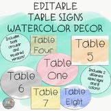 EDITABLE-Table Signs-Watercolor Decor