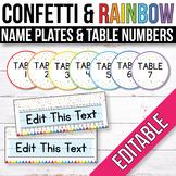 FREE EDITABLE Table Signs and Editable Name Tags Confetti Classroom Theme