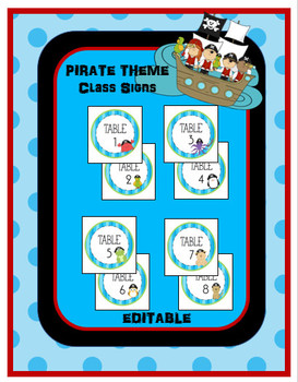 EDITABLE Table Signs in Pirate Theme! (1-8)