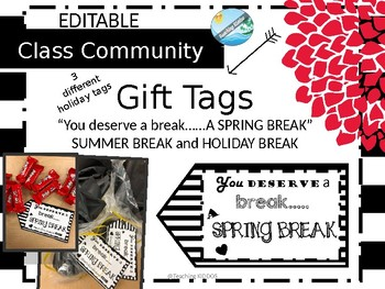 EDITABLE Tags for Spring Break /Holiday / Summer