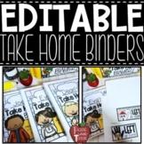 EDITABLE Take Home Binder Covers, Labels, and Behavior Calendars