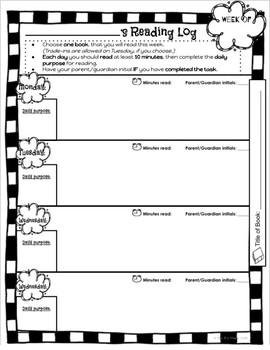 EDITABLE Take Home Folder Labels & Reading Log