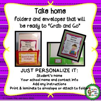 Take Home Folder Labels Editable