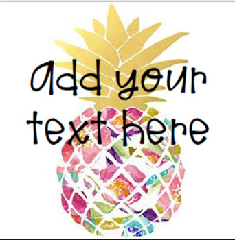 EDITABLE Target Adhesive Labels- Multicolor Pineapple Background