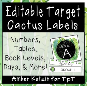 EDITABLE Target Pocket Labels: Cactus Style