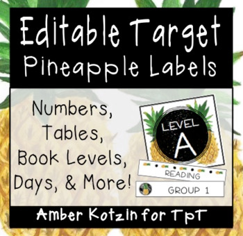 EDITABLE Target Pocket Labels: Pineapple Style Classroom Decor