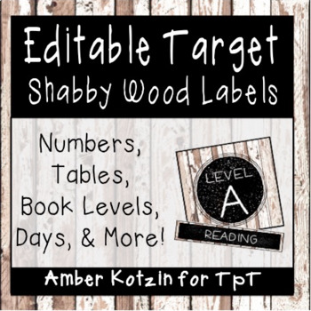 EDITABLE Target Pocket Labels: Shabby Wooden Style Classroom Decor