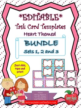 EDITABLE Task Card Template BUNDLE - Hearts - Valentine's Day - COMMERCIAL USE