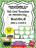 EDITABLE Task Card Templates BUNDLE - St. Patrick's Day - COMMERCIAL USE OK!
